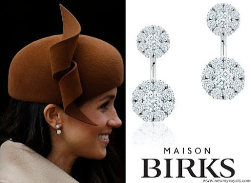 Meghan Markle wears Birks Snowflake Large Round Jacket Earrings