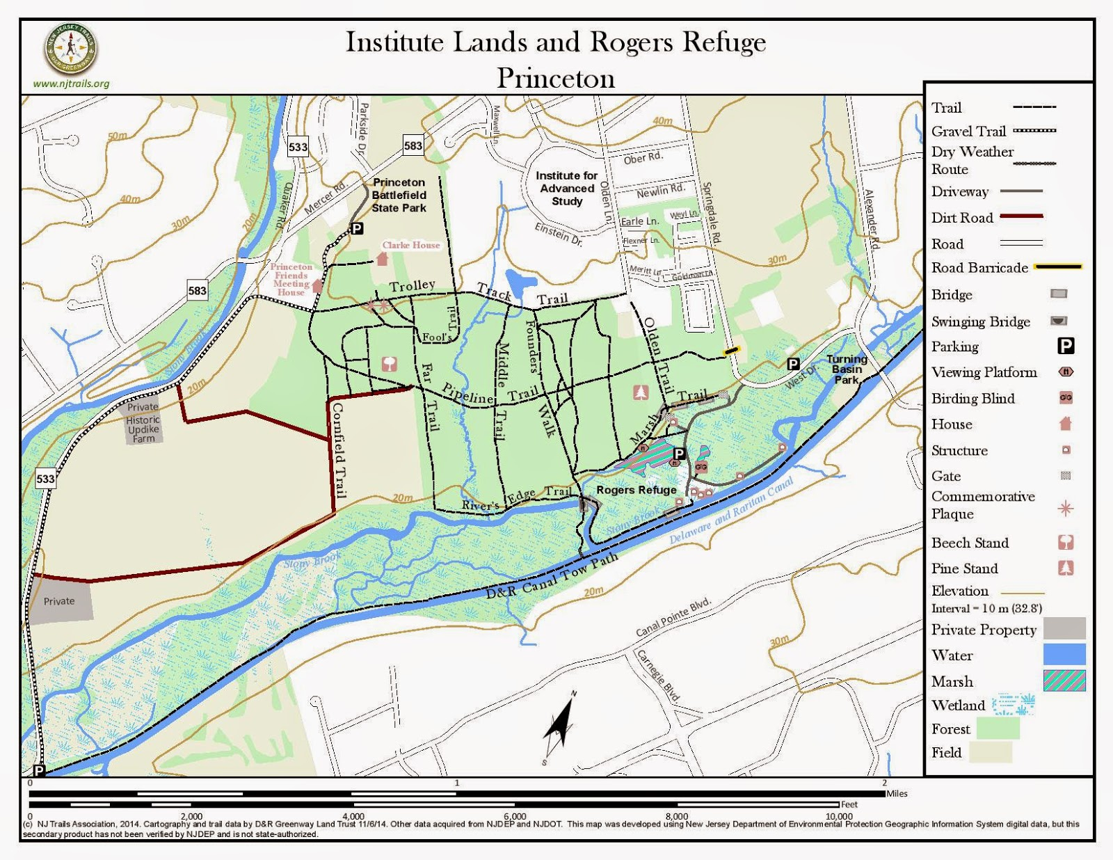 Institute Woods Trails Map