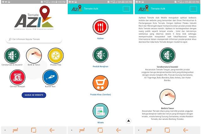 Aplikasi untuk mengecek souvenir dan tempat wisata di Ternate