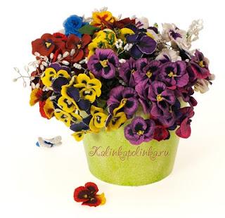 Как вылепить цветы? Анютины глазки, фиалки и другие