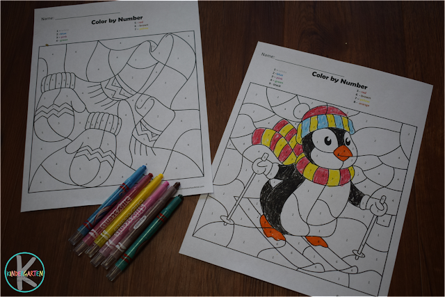FREE Winter Color by Number – Kindergarten Worksheets and Games