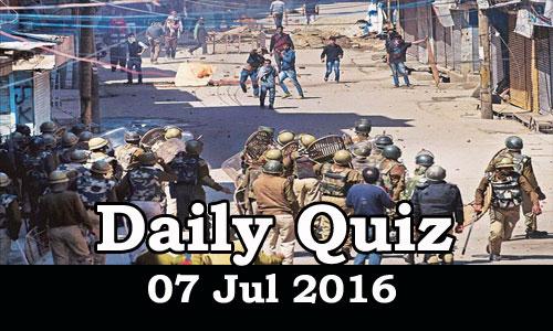 Daily Current Affairs Quiz - 07 Jul 2016