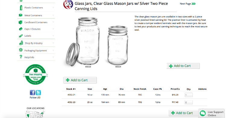 SKS clear glass mason jar