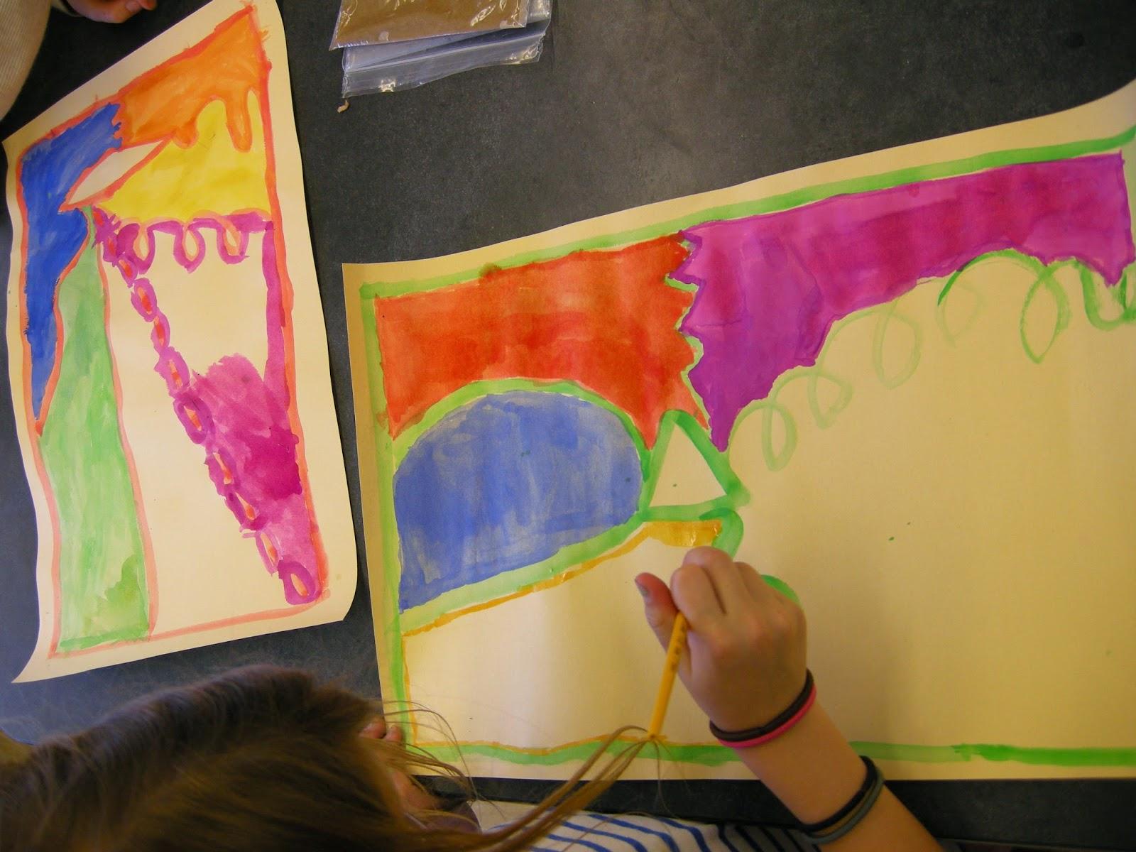 Zilker Elementary Art Class 1st Grade Abstract Paintings