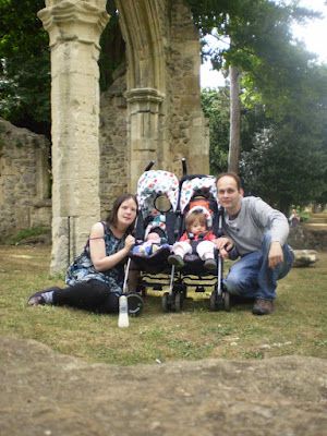 Family Photo Next to Old Ruins