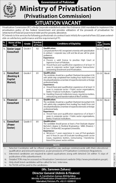 Jobs Vacancies In Ministry Of Privatisation Govt Of Pakistan 25 Dec 2018
