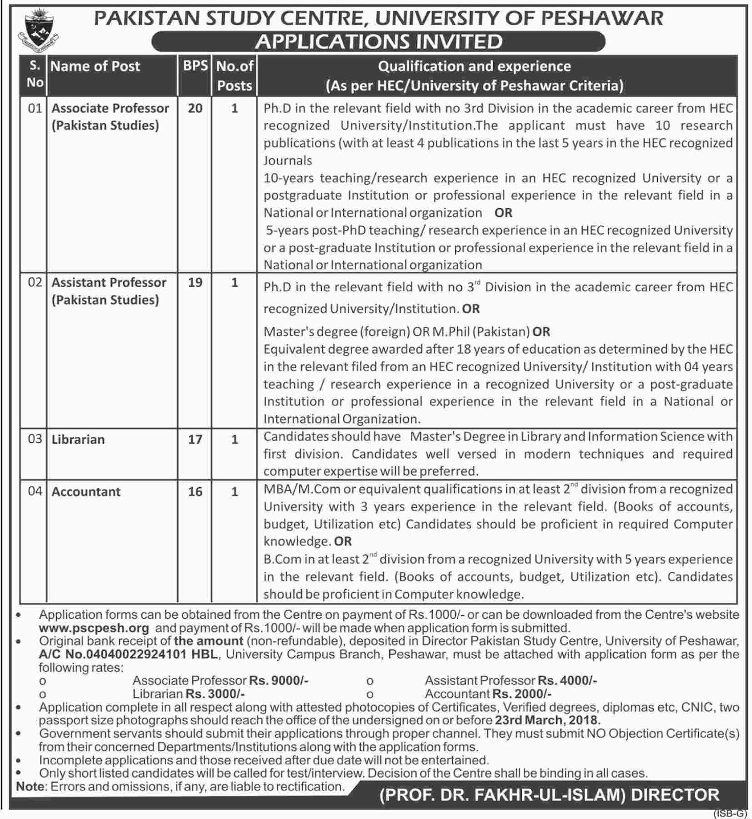 University of Peshawar for Professors, Librarian, Accountant