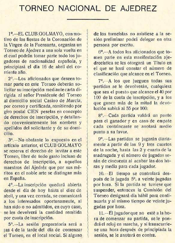 Primera página del díptico del I Torneo Nacional de Ajedrez de Murcia 1927