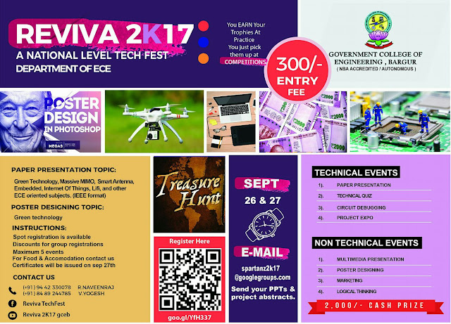 REVIVA 2K17: A National Level Tech Fest at GCE, Krishnagiri, Tamil Nadu