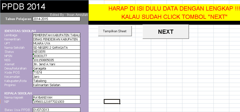 Software PPDB Berbasis Test 2016 Aplikasi Excel Free Download