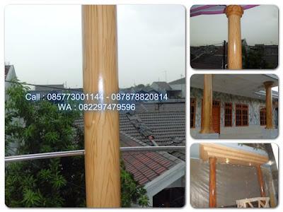 Cat tiang motif urat kayu