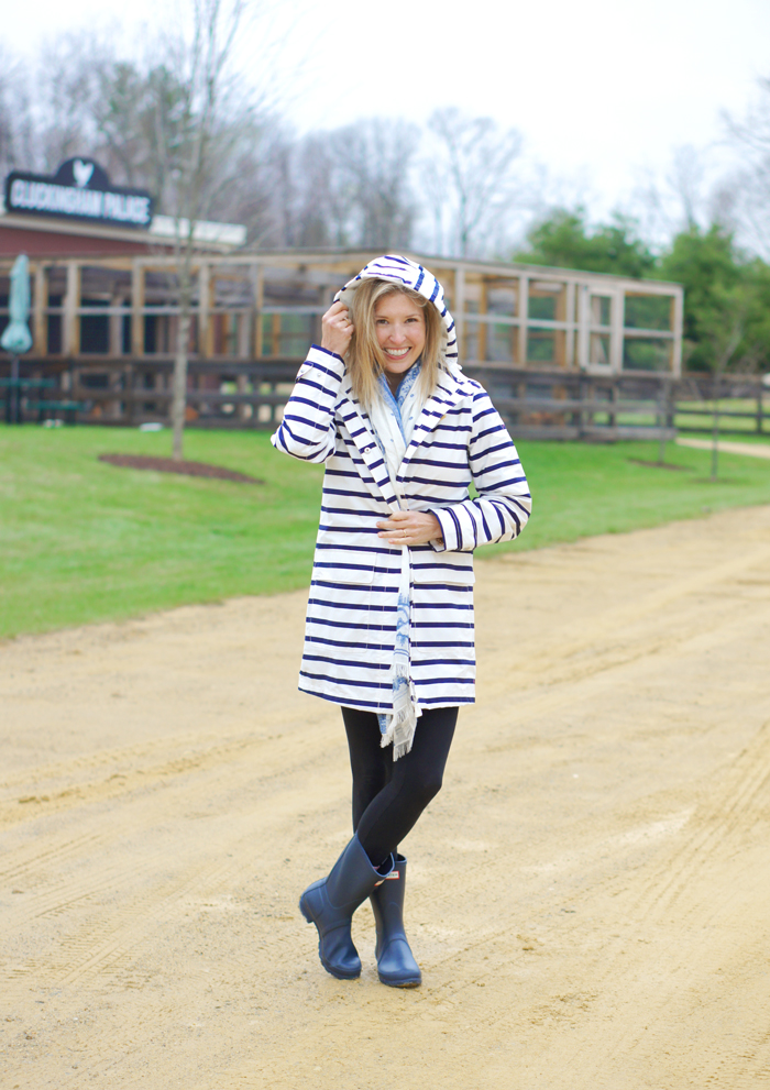 Joules striped rain jacket