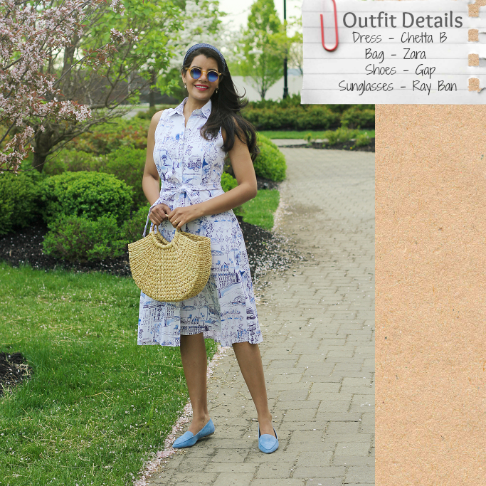 Shirt Dresses For Spring/Summer, Chetta B Paris Toile Print Shirt Dress, Straw Bags With Circle Handle, Blue Suede Loafers