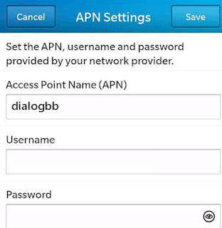 Dialog APN Settings for Blackberry