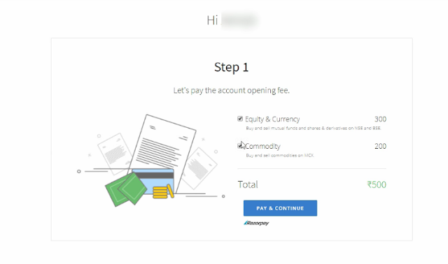 Pay online zerodha account opening charge