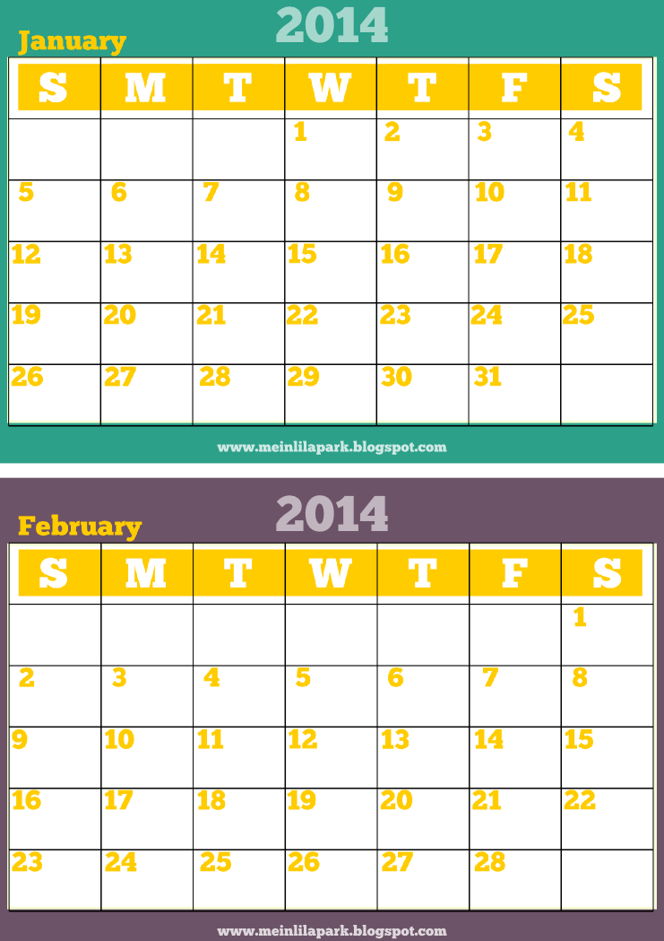Meinlilapark free printable monthly 2014 calendar 2014 for 2 month calendar template 2014