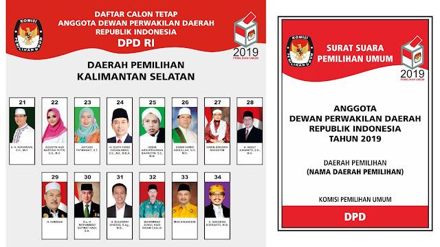 Daftar Calon Anggota DPD RI Prov. Kalimantan Selatan Pemilu 2019