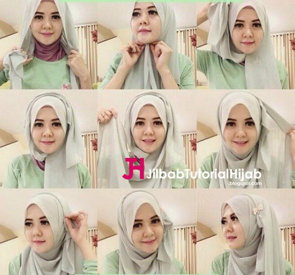 Kumpulan Gambar Tutorial Cara Memakai Hijab wajah bulat