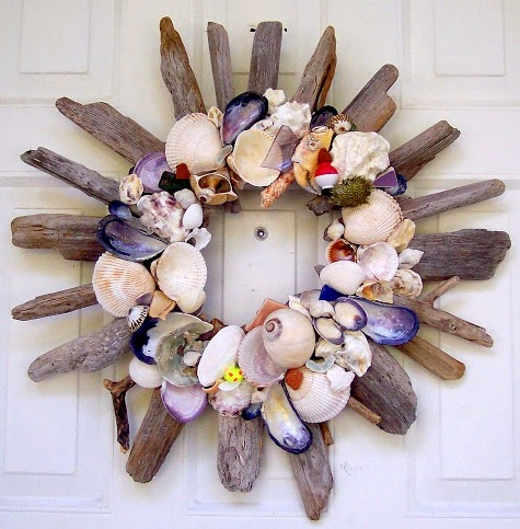 Handmade Front Door Wreath with a Beach Theme