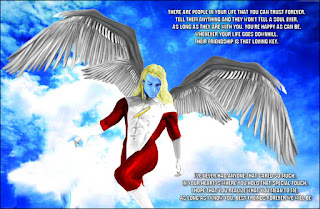 photoshop of a blue skinned angel flying the blue sky, Wendy May