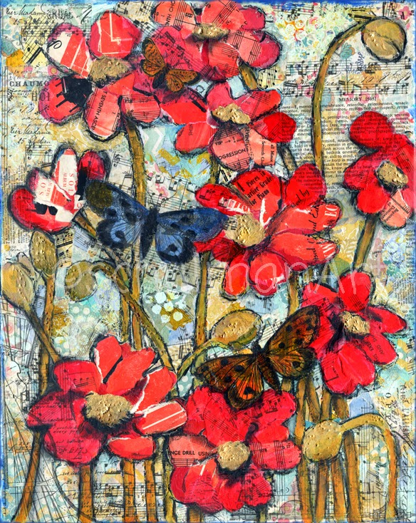 red poppy art | butterfly art | mixed media collage art by @schulmanArt
