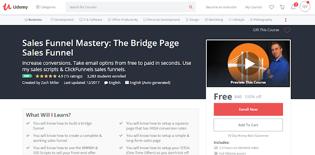 Sales Funnel Mastery: The Bridge Page Sales Funnel-Udemy Free (100%)