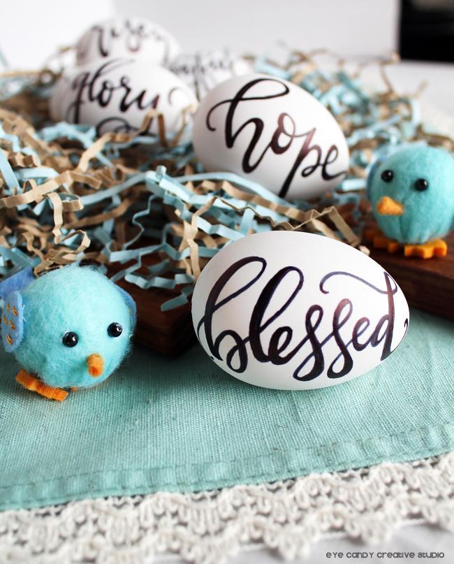 blessed, farmhouse eggs, little chicks, easter decor, hope, lettered eggs