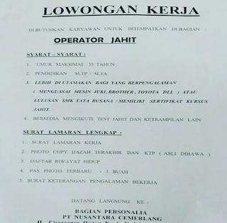 Lowongan Kerja PT Nusantara Cemerlang Bandung 2019 Sebagai Operator Jahit