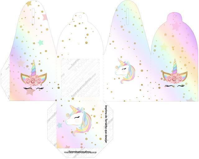 Unicornio y Arco Iris: Cajas para Imprimir Gratis.