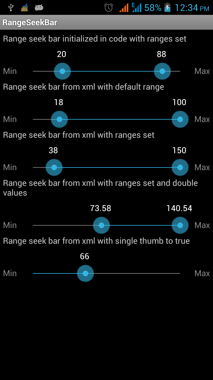 Android Development: Android Range Bar (Seek bar) with two thumbs