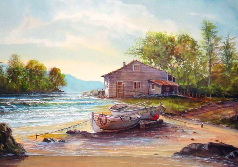 Im genes arte pinturas paisaje casa en el mar - Ka internacional papel pintado ...