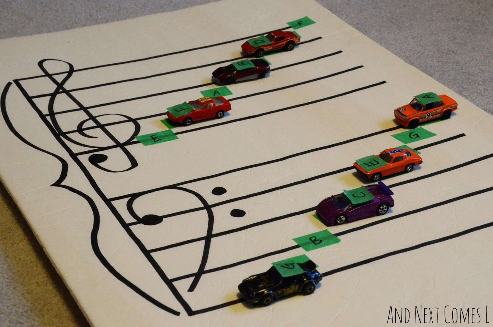 Music theory games for kids - practice note reading with cars from And Next Comes L