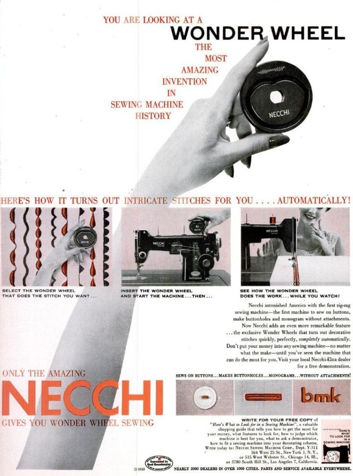 A magazine ad demonstrating the Necchi Wonder Wheel cam system.