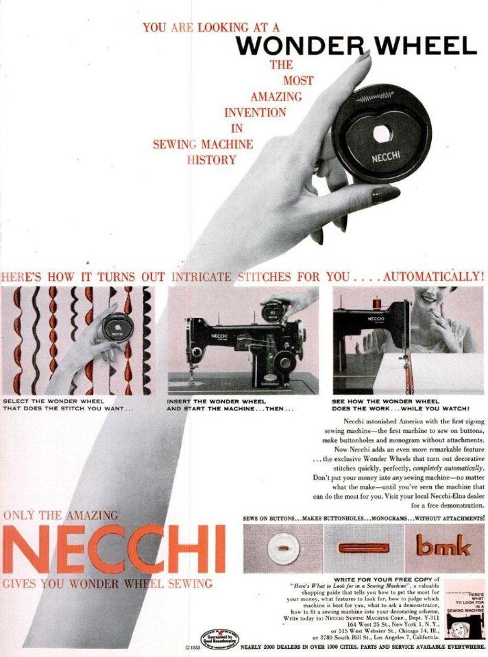 A magazine ad demonstrating the Necchi Wonder Wheel cam system.