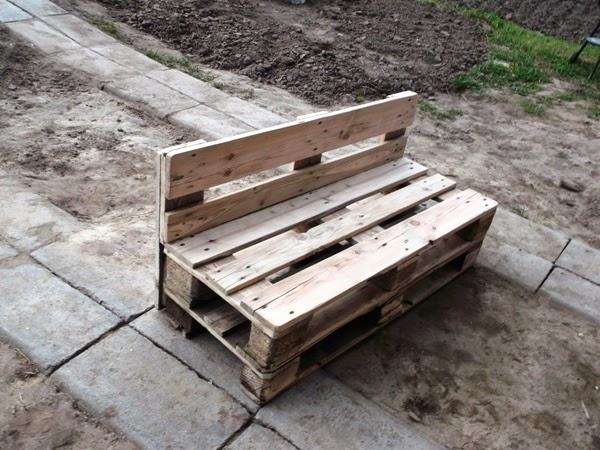 ławka  z palety po szlifowaniu