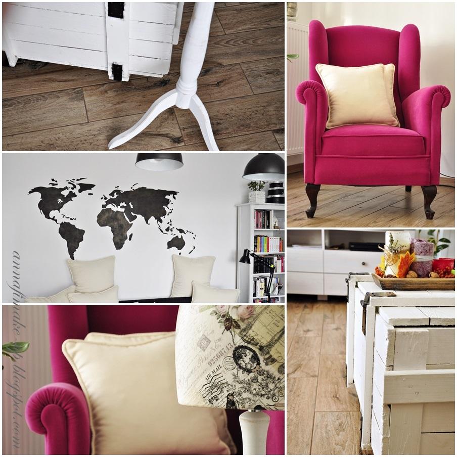 fotel uszka, mapa swiata, mieszkanie, moje m, urządzanie wnętrz,