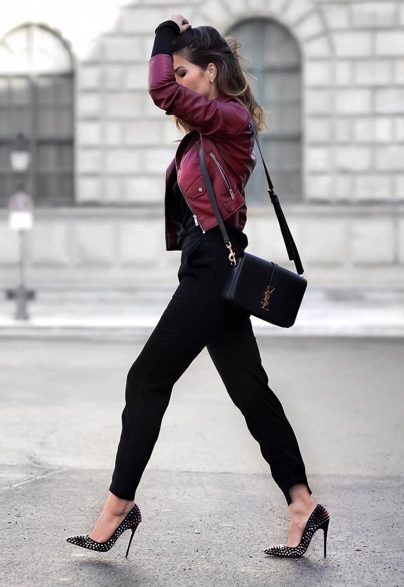 Wearing burgundy with all black. So chic!