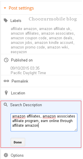 Search Description in Post Settings