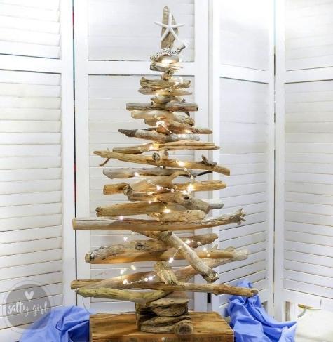 Lit Driftwood Christmas Tree