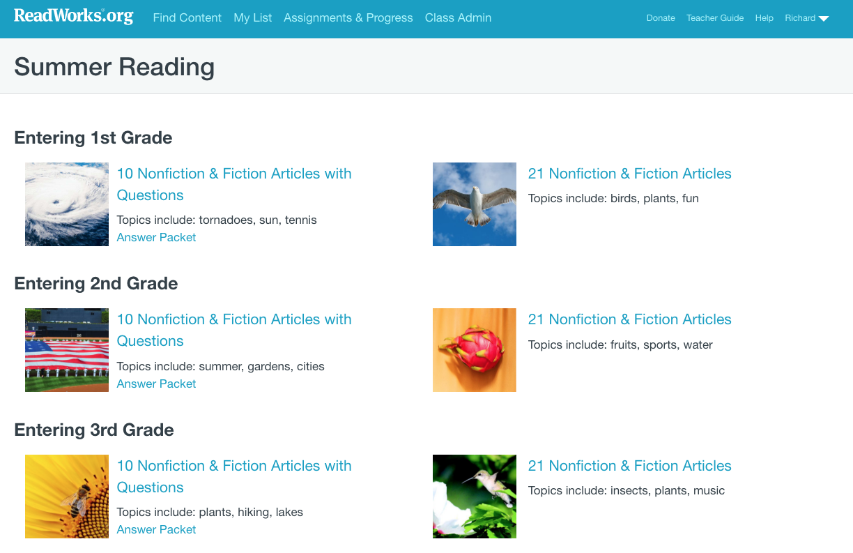 - Free Technology For Teachers: ReadWorks Offers Free Summer Reading