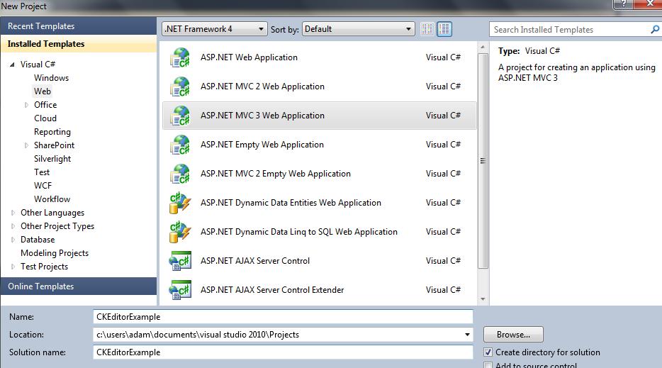 Hungry developer -  NET, C#, ASP NET MVC: CKEditor example