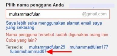 Pilih Nama Pengguna Akun Google Email Gmail