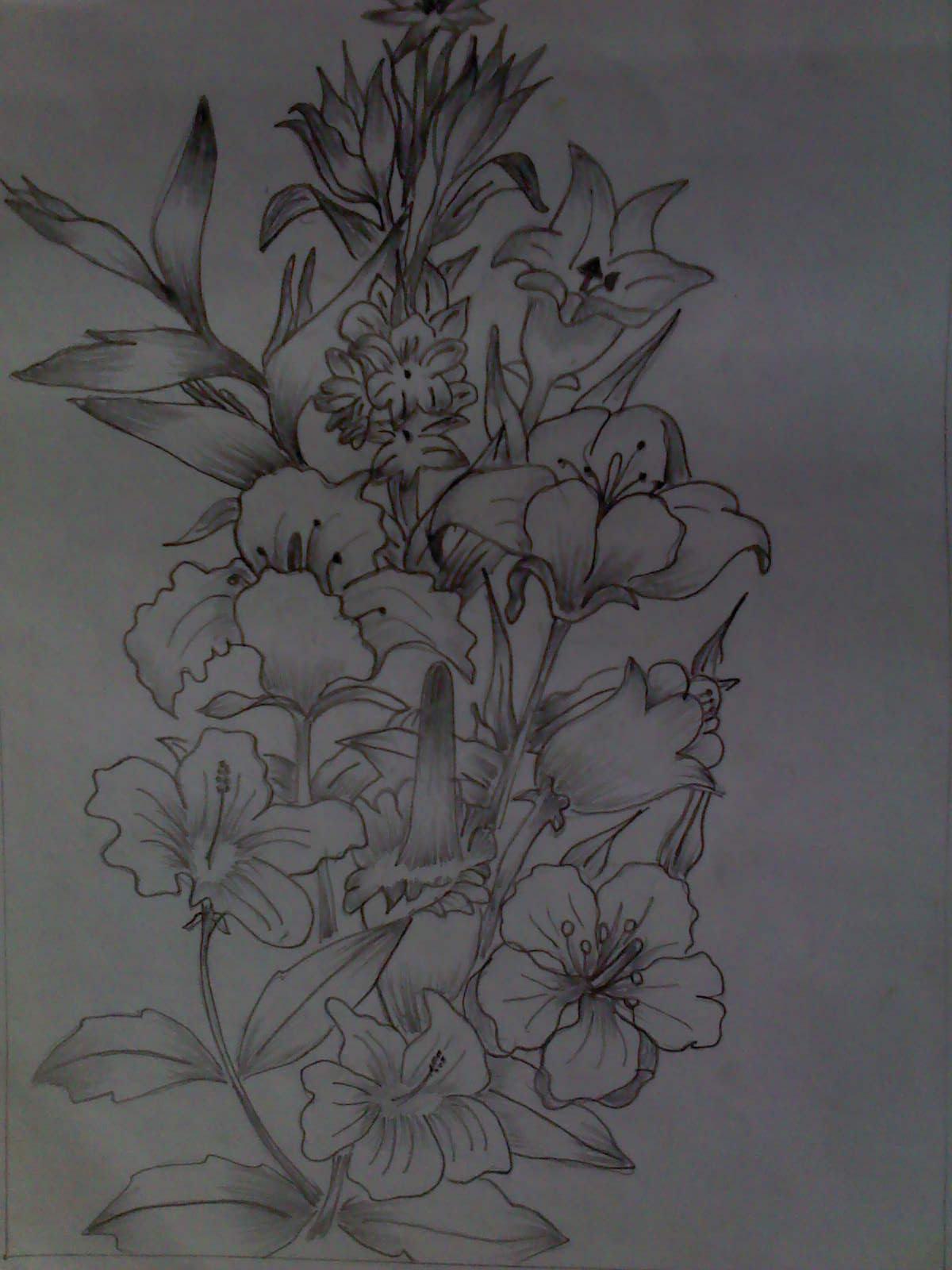 Galeri Sketsa Gambar Batik Bunga