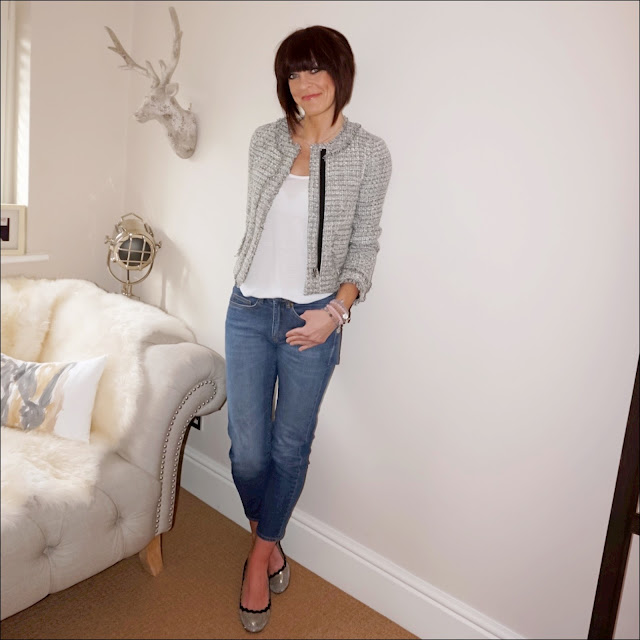 my midlife fashion, j crew tweed metallic lady jacket, zara plain vest top, baukjen the boyfriend jeans, meme london friendship bracelets, j crew block heel metallic pumps