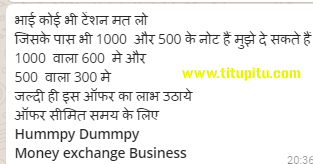 Funny jokes on Indian Rupee old notes of 500 and 1000
