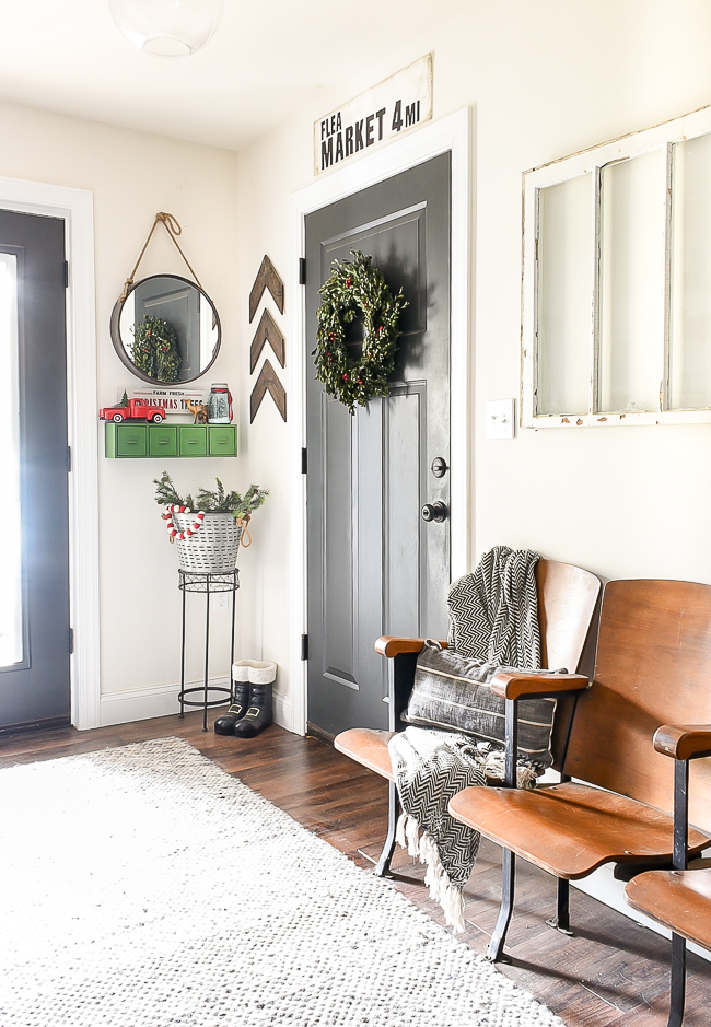 Classic red and green Christmas mudroom