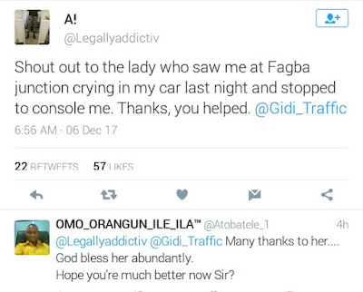 Nigerian lawyer gives shout out to a stranger who stopped to console him as he was crying in his car last night