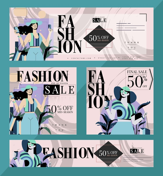 Fashion sale banners female shopper sketch colorful classic Free vector