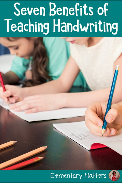 "Seven Benefits of Teaching Handwriting: Despite handwriting not being a ""tested skill,"" here are seven reasons why students benefit from writing instruction."