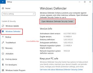 Membuka Windows Defender Melalui Aplikasi Settings di Windows 10